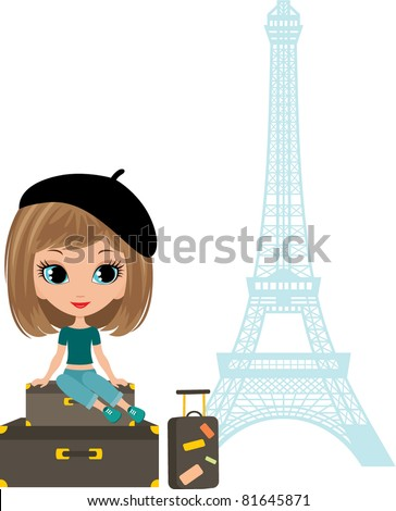 Pretty girl sits on a suitcase against Tour d'Eiffel. Vector illustration, color full, no gradient - stock vector