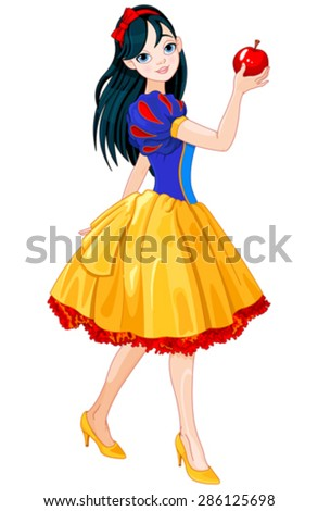 Pretty girl wearing Snow White costume - stock vector