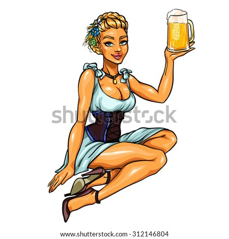 Pretty girl with beer, isolated - stock vector