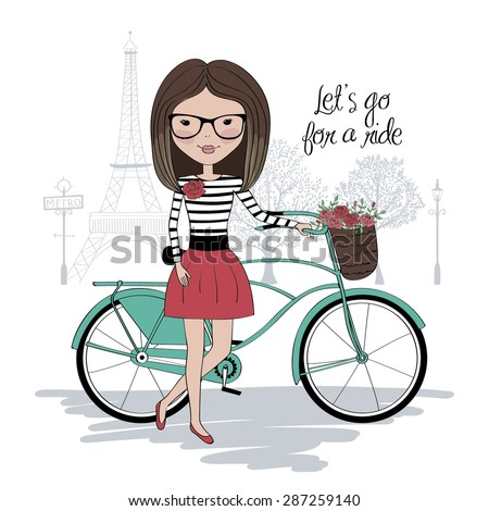 Pretty girl with bicycle in Paris  - stock vector