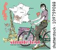 Pretty girl with bicycle on a french background. Vector illustration - stock vector
