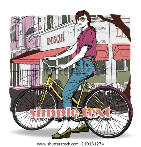 Pretty girl with bicycle on a street cafe background. Vector illustration - stock vector