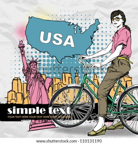 Pretty girl with bicycle on a usa background. Vector illustration - stock vector
