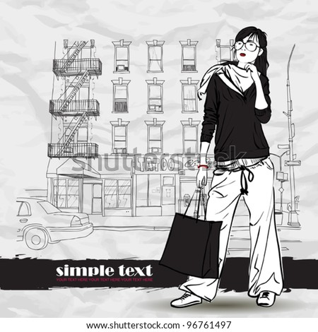 Pretty girl with shopping bag on a street-background. Vector illustrator.