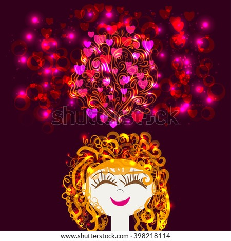 pretty girls dreams or thinks of pleasant events. The emotions : delight , pleasure , dreams, love - stock vector