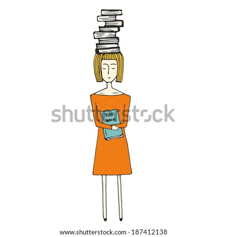 Pretty hand drawn girl with books on white background. Education and learning vector illustration. - stock vector