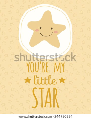 Pretty hand drawn poster with little star for valentine's day, wedding or just because of love in cute cartoon childish style. Doodle greeting card with seamless pattern background in yellow stars. - stock vector