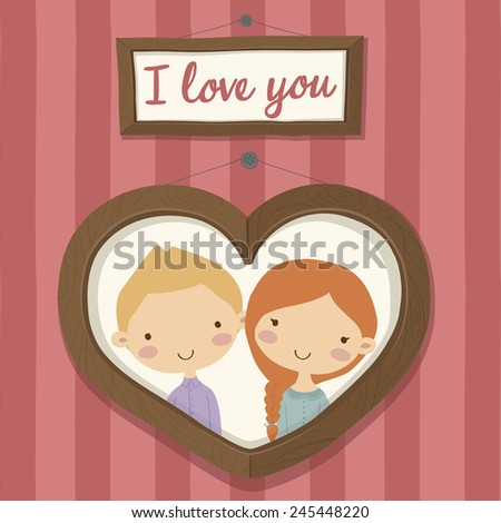 Pretty hand drawn poster with portraits of loving boy and girl in frame in the shape of heart for valentines day in cute cartoon childish style.  Doodle greeting card with red striped background. - stock vector