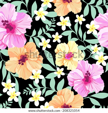 pretty hibiscus flowers ~ seamless vector background - stock vector