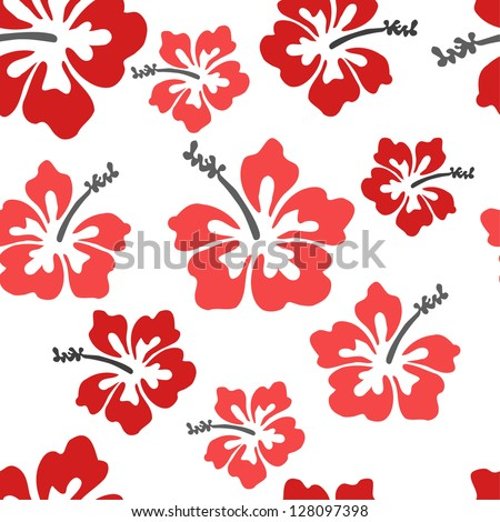 Pretty hibiscus seamless background - stock vector