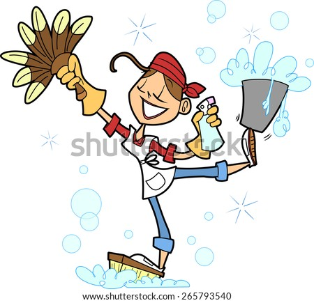 Woman Cleaning Logo Pretty House Cleaning Woman