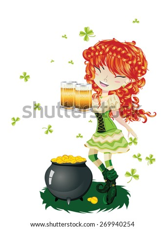 Pretty leprechaun girl with beer, St. Patrick's Day illustration. - stock vector