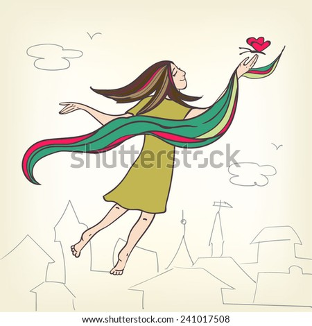Pretty little girl in a green dress and colorful scarf with a butterfly in her hand flying out in the sky. - stock vector