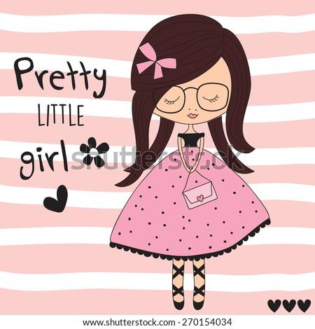 pretty little girl vector illustration - stock vector