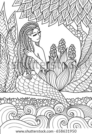 pretty mermaid sitting by the river arrange her hair design for adult coloring book page - Coloring Pages Pretty Mermaids
