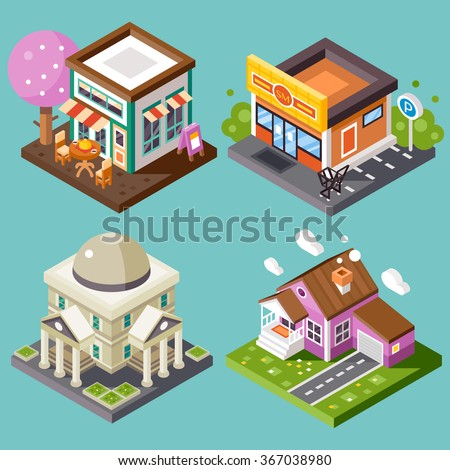Pretty nice city isometric buildings isolated: nice street cafe with fancy-looking tree, supermarket with parking, library, nice home building with garage. Flat stock vector illustration.  - stock vector