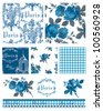 Pretty Parisian Themed Floral Vector Seamless Patterns and icons.  Great for textile projects or digital paper. - stock photo