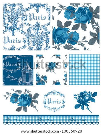 Pretty Parisian Themed Floral Vector Seamless Patterns and icons.  Great for textile projects or digital paper. - stock vector