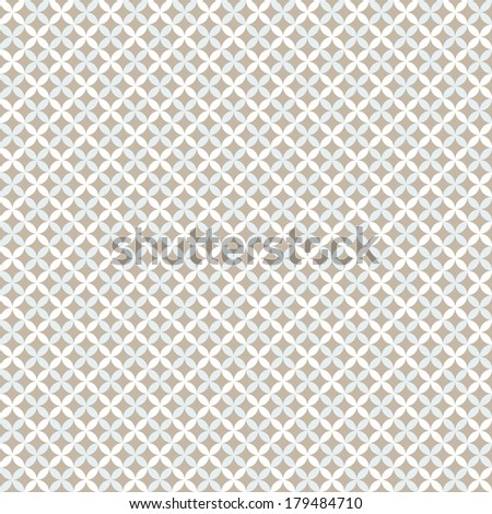Pretty pastel vector seamless pattern (tiling, with swatch). Endless texture can be used for wallpaper, fill, web background, texture. Abstract cute ornaments. Blue, beige, white colors. - stock vector