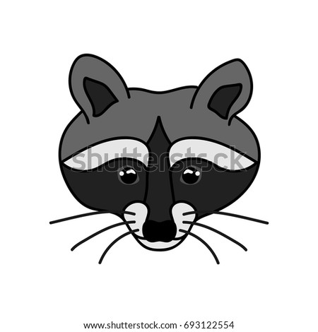 pretty raccoon isolated on white background sketch raccoon face simple design for tattoos