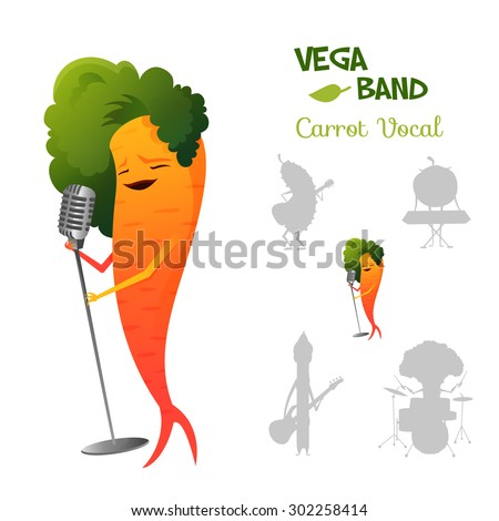 Pretty red carrot character singing a song in retro microphone with band. Vega band characters concept collection.  Suitable for typography, games and animation. Vector illustration - stock vector