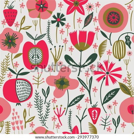 Pretty Seamless Pattern, Flowers & Fruits. - stock vector