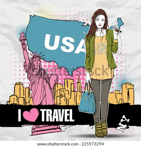 Pretty stylish girl in sketch-style on a USA background. Vector illustration. - stock vector