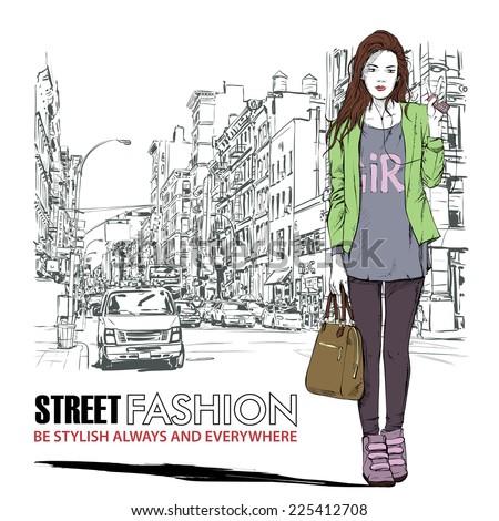 Pretty stylish girl on a street background. Vector illustration. - stock vector