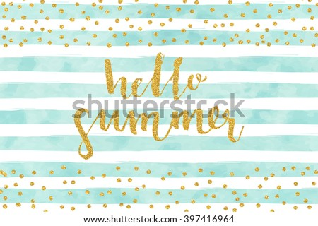Pretty Summer card template. Gold glitter confetti on striped watercolor background. Vector illustration. - stock vector