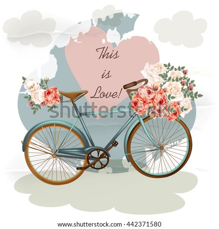 Pretty vector illustration with bicycle in blue color pink rose flowers heart and clouds. Vintage style - stock vector