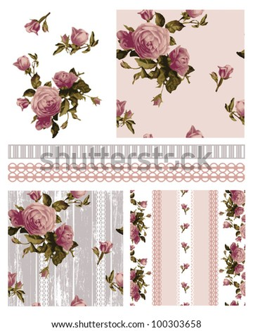 Pretty Victorian Vector Rose Shabby Chic seamless patterns and icons.  Use to create stunning craft or textile projects. Ideal as patchwork pieces for quilts or Digital paper. - stock vector