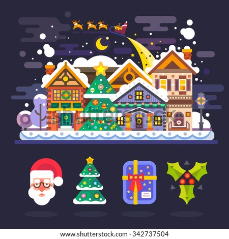 Pretty winter village landscape with snow covered houses and Santa Claus in sleigh with deers flying over it. Isolated icons: Santa, xmas tree, christmas gift, mistletoe. Flat vector illustration.  - stock vector