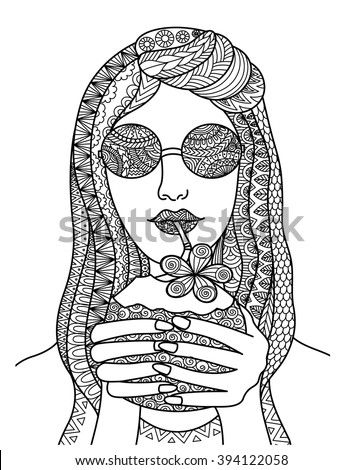 Pretty woman drinking coconut juice zentangle line art design for poster, tattoo, banner,coloring book for anti tress, t shirt design and so on - stock vector - stock vector