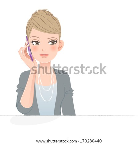 Pretty woman frowning while talking on the phone.  File contains Gradients, Blending tool, Clipping mask. - stock vector