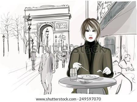 Pretty woman having a lunch at the Champs-Elysees avenue in Paris - Vector illustration - stock vector