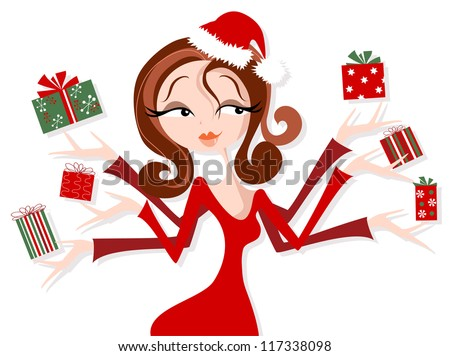 Pretty Woman Juggling Christmas Presents. - stock vector