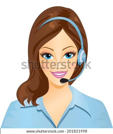 Pretty woman phone operator.