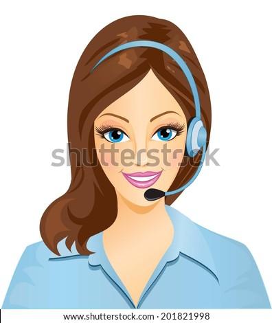 Pretty woman phone operator. - stock vector