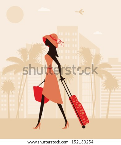 Pretty woman with a suitcase at the resort. Vector - stock vector