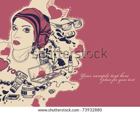 pretty woman with a variety of trendy cosmetics,  perfumes and beads - stock vector