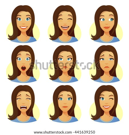 Pretty woman with facial expressions set. Girl face, smile, laugh, dreaminess, surprise, angry, sorrow, cry, sad, flirt expressions. Emotions ofl girl, flat cartoon vector girl face. Young woman.  - stock vector
