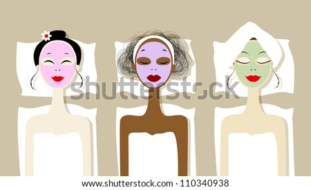 Face Mask Cartoon Spa Mask on Faces in Spa Salon