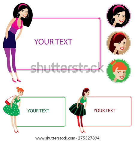 Pretty young beautiful girl for your text - stock vector