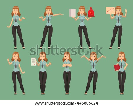 Pretty, young business presentation women giving conference meeting setting. Vector character set business presentation women female office group. Business presentation training working people set. - stock vector