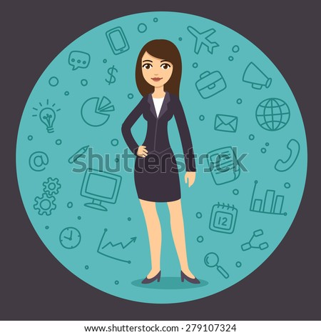 Pretty young businesswoman in cartoon style in suit surrounded by a pattern of business related symbols. - stock vector