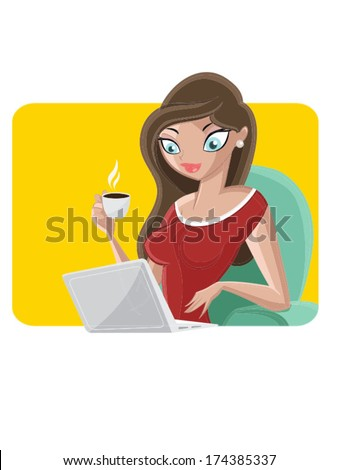 Pretty young girl taking coffee with a computer