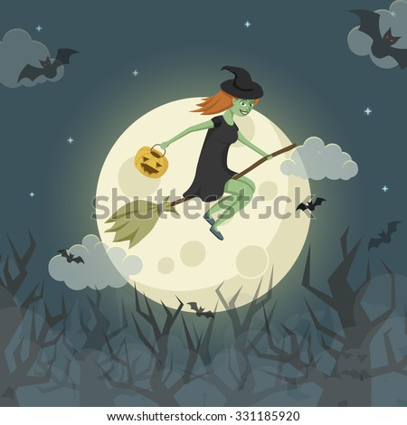 Pretty young witch on a broomstick flying over the spooky forest in front of the moon. Vector Halloween illustration.