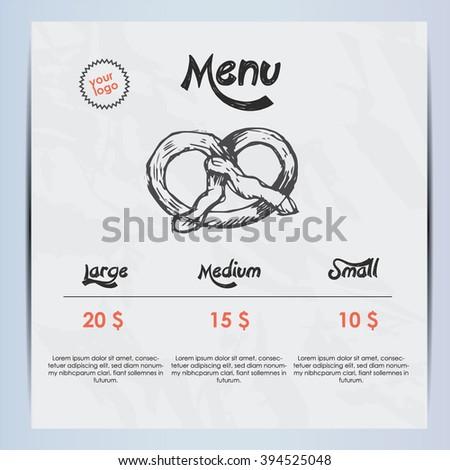 Pretzel menu - stock vector