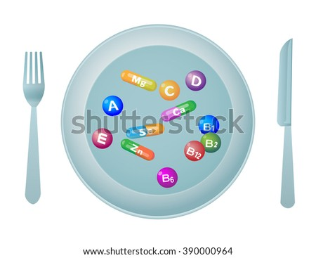 prevention of heart disease - vitamins, minerals - stock vector