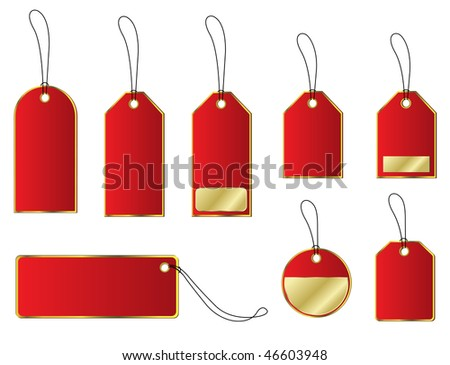 Price and labels tags set - red and gold colors, vector.